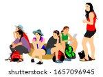 tired tourist girls traveler...   Shutterstock .eps vector #1657096945