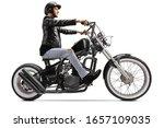 Biker Riding A Custom Chopper...