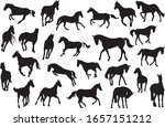 Adult Race Horses Silhouettes...
