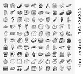 doodle food icons set | Shutterstock .eps vector #165736355