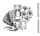 bottle of medicine syrup with... | Shutterstock .eps vector #1657419352