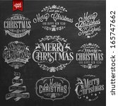 vintage merry christmas and... | Shutterstock .eps vector #165747662