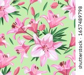 pink flowers   lily. seamless... | Shutterstock .eps vector #1657489798