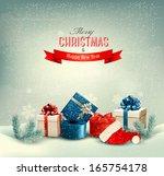 christmas winter background... | Shutterstock .eps vector #165754178