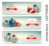 christmas winter banners with... | Shutterstock .eps vector #165754838