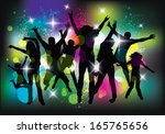 young people dancing and... | Shutterstock .eps vector #165765656
