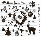 hand drawn christmas icons. ink ... | Shutterstock .eps vector #165770216