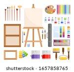art tools. vector set of flat... | Shutterstock .eps vector #1657858765