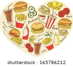 various fast foods arranged in... | Shutterstock .eps vector #165786212