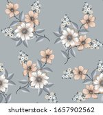 Grey And White Flower Pattern...