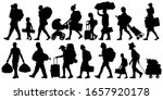 Silhouette People With Bags And ...