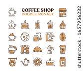 coffee shop doodle vector icons.... | Shutterstock .eps vector #1657956232
