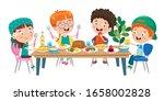 little children eating healthy... | Shutterstock .eps vector #1658002828