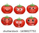 tomato emoji cartoon character... | Shutterstock .eps vector #1658027752