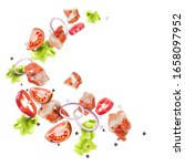 pieces of pork  tomatoes ...   Shutterstock .eps vector #1658097952