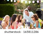 group of friends having outdoor ... | Shutterstock . vector #165811286