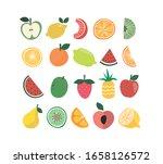 fruits vector icon set. vitamin ... | Shutterstock .eps vector #1658126572