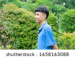 young man happy stand in park    Shutterstock . vector #1658163088