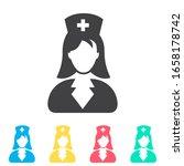 nurse multi color icon set....