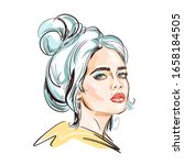 hand drawn young beautiful girl ... | Shutterstock .eps vector #1658184505