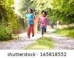 children running in countryside ... | Shutterstock . vector #165818552