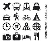set of black flat icons about... | Shutterstock .eps vector #165818732