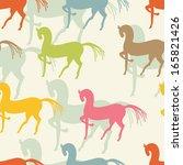 motley horses seamless pattern. ... | Shutterstock .eps vector #165821426