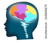 Stock photo head of a child with puzzle brain isolated 165830675