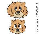 cute cartoon pomeranian face...   Shutterstock .eps vector #1658308312