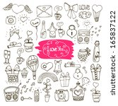 set of love doodle icons... | Shutterstock . vector #165837122