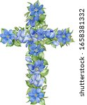 Watercolor Cross With Blue...
