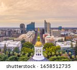 Aerial photo downtown Sacramento from the capital building
