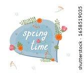 floral blue speech bubble... | Shutterstock .eps vector #1658519035
