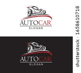 set of car emblems on black and ... | Shutterstock .eps vector #1658610718