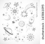 sketches of space objects... | Shutterstock .eps vector #165861095