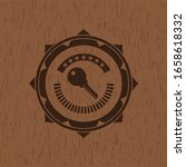 key icon inside badge with wood ... | Shutterstock .eps vector #1658618332