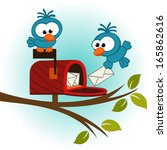 birds and mailbox with mail  ... | Shutterstock .eps vector #165862616
