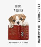 cute puppy with red books... | Shutterstock .eps vector #1658674915