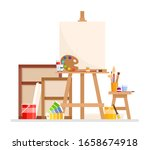 art studio interior. vector set ... | Shutterstock .eps vector #1658674918