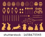 collection of gold decorative... | Shutterstock .eps vector #1658675545