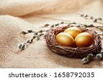 Golden Easter Eggs In Nest With ...