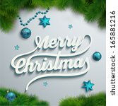 merry christmas lettering over... | Shutterstock .eps vector #165881216