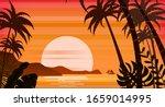 Sunset Beach Palm Trees...