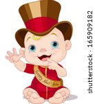 cute baby new year with top hat ... | Shutterstock .eps vector #165909182