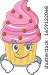 cool strawberry cupcake mascot... | Shutterstock .eps vector #1659122068
