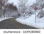 Winter Landscape With Road And...