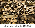 woodpile of chestnut and beech - stock photo