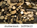 stacked wood logs - stock photo