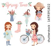 cute girl and flower with...   Shutterstock .eps vector #1659391822