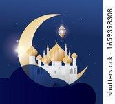 hari raya crescent and mosque... | Shutterstock .eps vector #1659398308